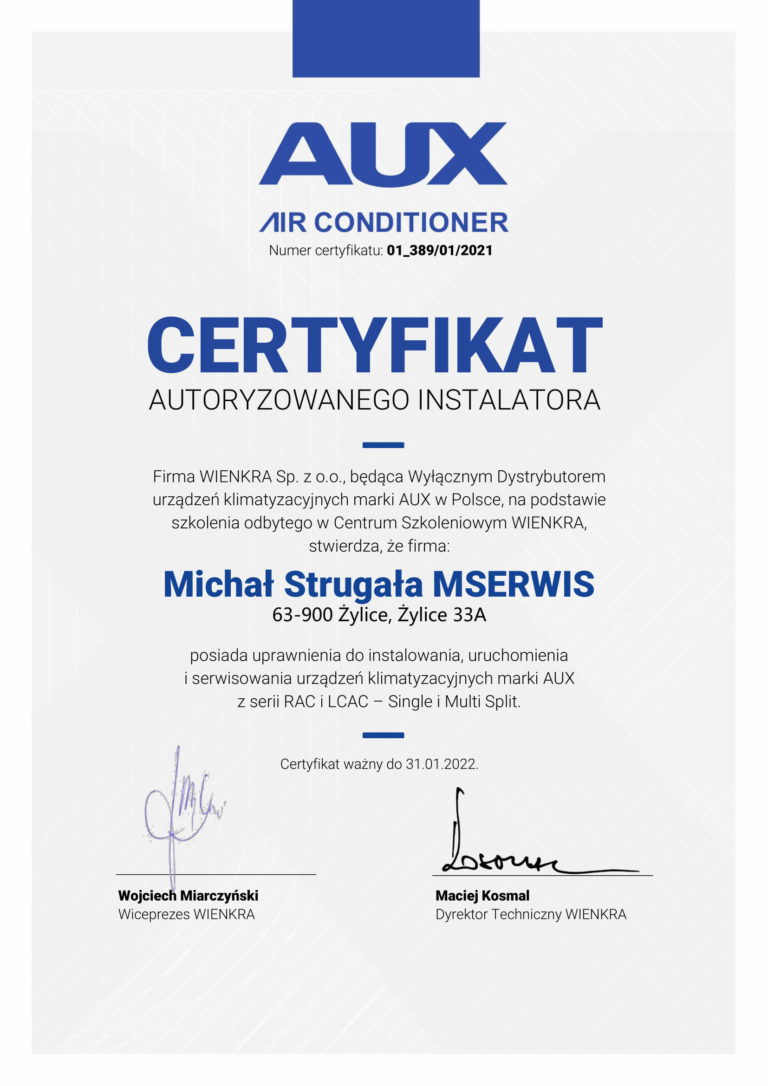 Certyfikat AUX