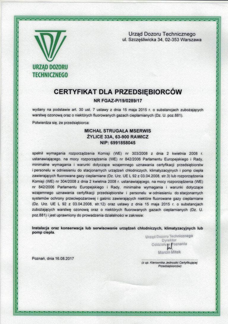Certyfikat dla przedsiębiorcy
