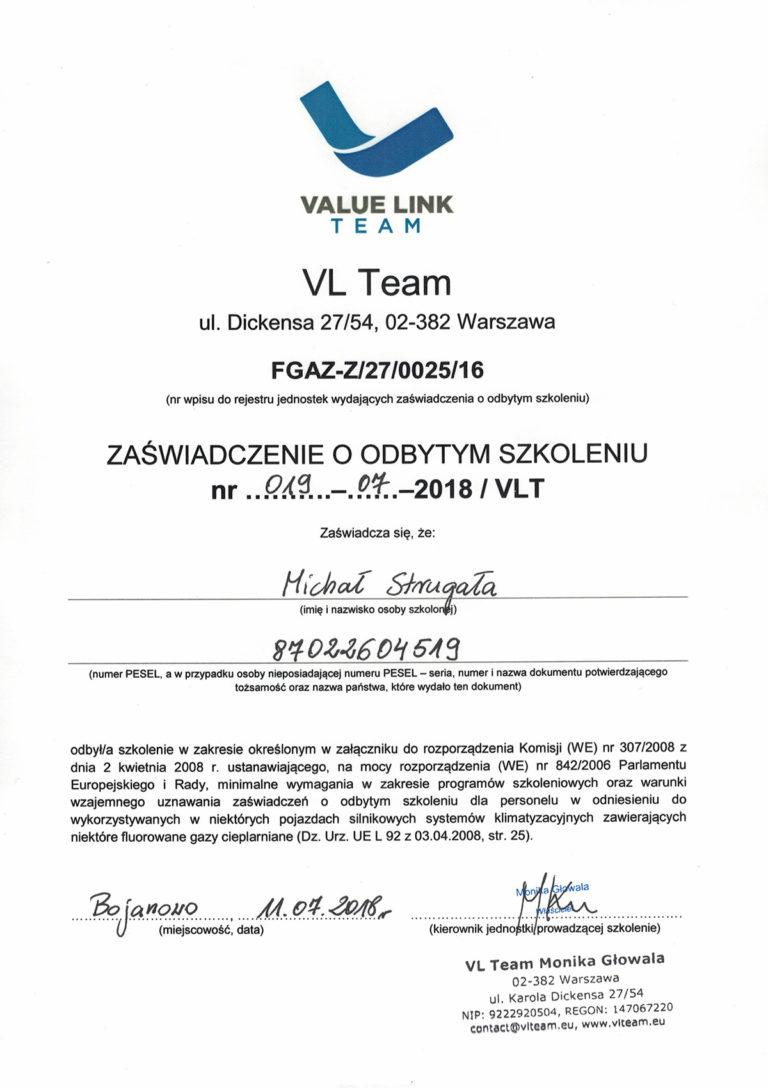 Certyfikat VL Team